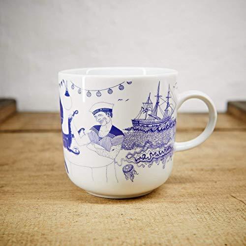 Kaffeebecher - 100% Handmade von Ahoi Marie - Motiv Bootshaus - Maritime Porzellan-Tasse original aus dem Norden