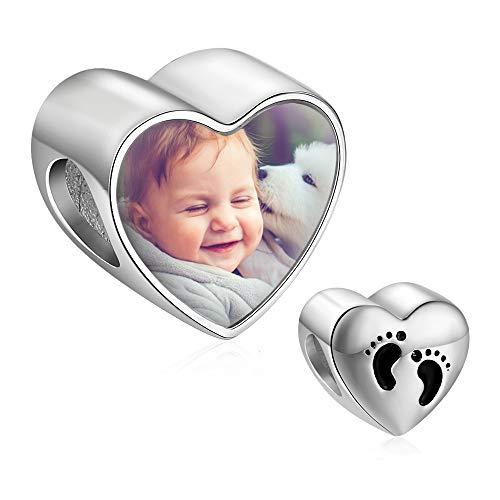 Lam Hub Fong Abalorio Charm Pulsera de Foto Personalizado Charm con pie del bebé Plata de Ley 925 Regalo para Aniversario para Madre Mujer Niña