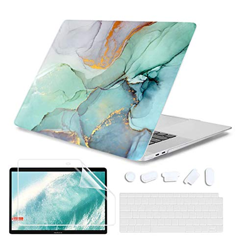 iCas 4 in 1 MacBook Air 13 Inch Case 2020 2019 2018 Release A2179 / A1932 with Retina Display Touch ID, Hard Shell Case & Matched Keyboard Cover & Screen Protector Fit Newest Mac Air 13, Marble 2