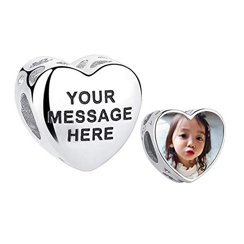 Personalized Photo Charm Heart Beads with Custom Photo&Text 925 Sterling Silver Charms Photo Charm for Bracelet Gift for Women Mum Dad (Sterling Silver)