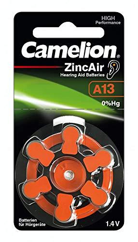 Camelion 15056013 Zink Luft Knopfzellen ohne Quecksilber A13/ZL 13/1,4 Volt, 6er-Pack