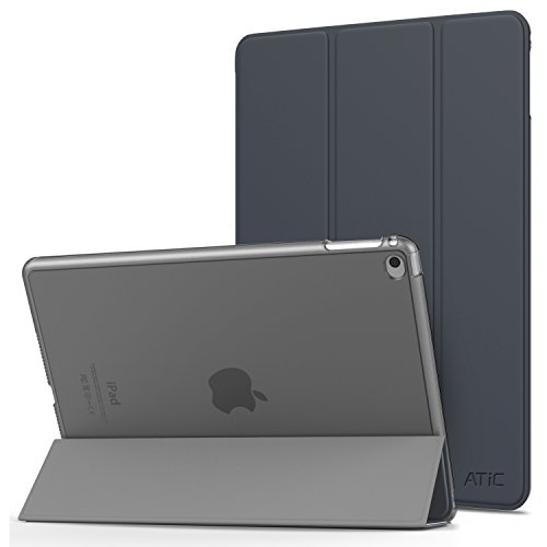 iPad Air 2 ケース ATiC Apple iPad Air 第2世代 9.7インチ用スマートカバー 半透明 オートスリープ機能 三つ折り 軽量 超薄型 衝撃吸収 スタンド シンプル モデル番号:A1566/A1567 Space Gray(iPad Pro 9.7/iPad air に適応ない)