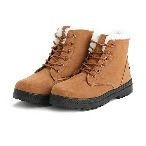 WyCDA enkellaarzen voor dames, kunstbont, platte hakken, korte laarzen, veters, robuust, antislip en zeer duurzaam, geschikt voor alle podium buiten, sneeuw