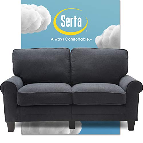 """Serta Copenhagen Sofa Couch for Two People, Pillowed Back Cushions and Rounded Arms, Durable Modern Upholstered Fabric, 61"""" Loveseat, Charcoal"""