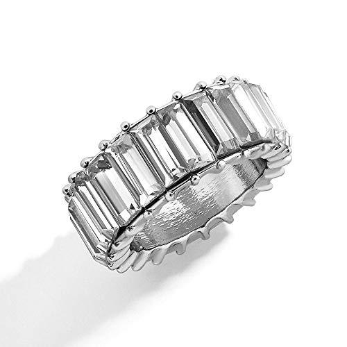 LYWZX Ringe Für Damen Verstellbar Boho Regenbogen Kristall Silber Ring Damenmode Brillante Baguette Zirkonia Farbe Stein Ring Weibliche Hochzeitsfeier Jewelry-Size_9_Ri0052_White