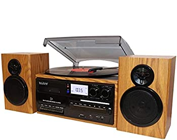 Boytone BT-28SPW Bluetooth Classic Style Record Player Turntable with AM/FM Radio CD / Cassette Player 2 Separate Stereo Speakers Record from Vinyl Radio and Cassette to MP3 SD Slot USB AUX.