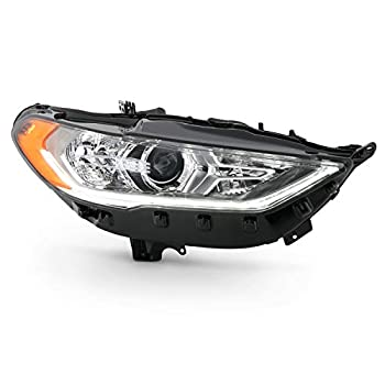 Fits 2017-2020 Ford Fusion Halogen w/LED DRL Model Projector Chrome Headlight Passenger Right Side Replacement