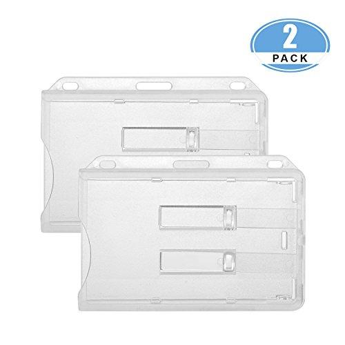 JUMI Porta Badge Porta Cartellino per 2 Badge Plastica dura Trasparente Policarbonata 2 Pezzi