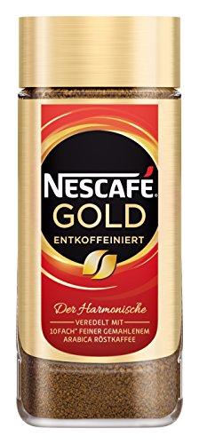 Nescafé Gold Entkoffeiniert löslicher Bohnenkaffee (aus erlesenen Kaffeebohnen, ohne Koffein, vollmundig und aromatisch) 100g Glas