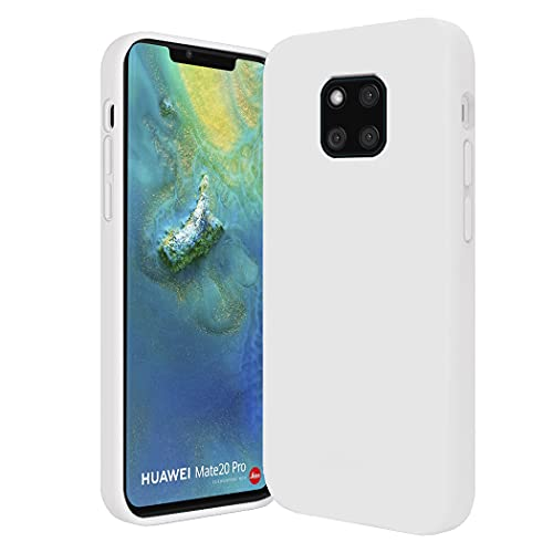 Compatible con Huawei Mate 20 Pro, funda Mate 20 X, suave silicona TPU líquida, funda fina resistente a los golpes y arañazos (blanco, Huawei Mate 20 Pro)