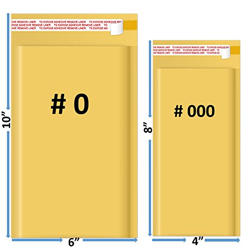 Sales4Less #000 4x8 and #0 6x10 Kraft Bubble Mailers Padded Shipping Envelopes Self Seal Pack of 25 Each Size