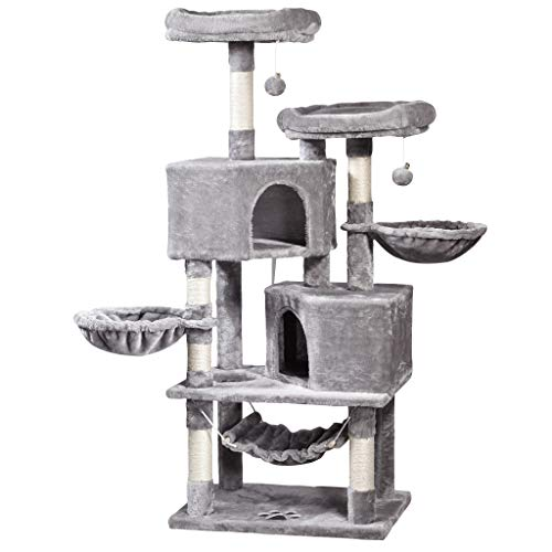 JISSBON 145cm Cat Tree Cat Tower Cat Scratching Post with Condos, Basket, Hammock & Plush Perches for Kittens, Large Cats, Light Grey