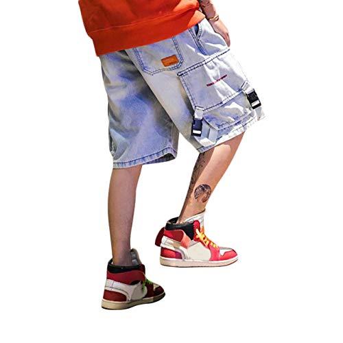 Irypulse Jeans de Algodón Hombre, Pantalones Cortos Cargo de Mezclilla Bolsillos Múltiples Moda Callejera Urbana para Adolescentes y Niños, Shorts Bermuds Estilo Vintage Hip Hop - Diseño Original