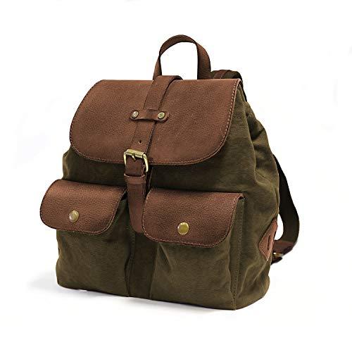 DRAKENSBERG Kimberley Debonair Back Pack, zainetto da donna, zaino, borsa da donna, tela, canvas, pelle, vintage, lussuosamente, verde oliva, marrone