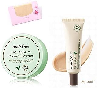 BUNDLE - Innisfree No Sebum Mineral Powder 0.18 Oz/5g + Blur Primer 0.85 Oz/25Ml + SoltreeBundle Natural Hemp Paper 50pcs