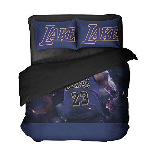 Maspt Dark Blue California State Basketball Athlete Number 23 Bedspreads Breathable 3D Printed Sports Duvet Cover Sets 2 Pillowcases 3 Pieces(Twin 3pcs)