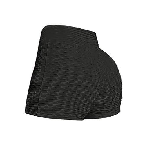 Veluckin Mujer Pantalones Cortos Verano Elásticos Mallas Pantalones Patchwork Deportivo de Yoga,Negro,S