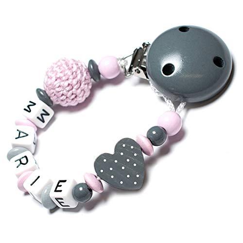 Schnullerkette mit Namen für Mädchen und Jungs - große Farbauswahl (Grau Herz)