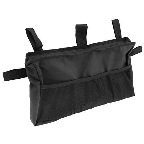 SING F LTD Faltbare Rollstuhltasche für Rollstuhl, seitliche Tasche, Rollator-Tasche, Bettschiene, Organizer, Hilfstasche, Korb, Zubehör, verstellbar, für ältere Menschen, 40,5 x 23 cm, schwarz