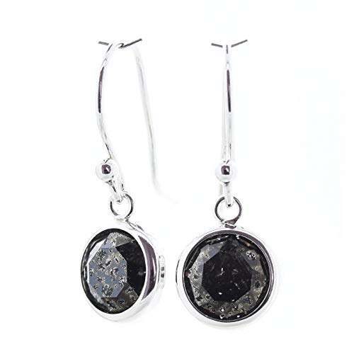 pewterhooter 925 Sterling Silver drop earrings for women made with sparkling Black Patina crystal from Swarovski in a silver channel setting. Gift box. Made in the UK