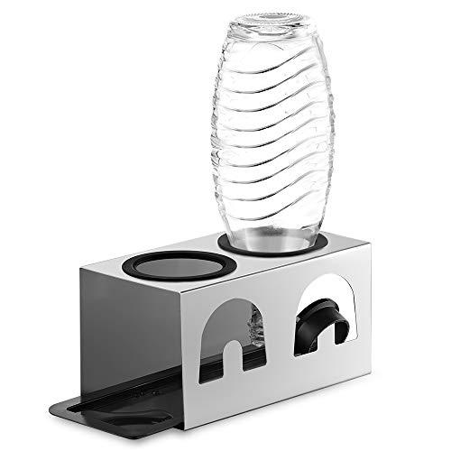 ecooe NEU Abtropfhalter mit Abtropfmatte und Kantenschutzringe aus Edelstahl/Abtropfständer für SodaStream Glaskaraffe und Emil Flaschen Für 2 Flaschen und 2 Deckel/Flaschenhalter Edelstahl