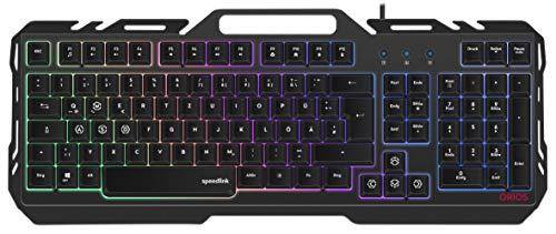 Speedlink ORIOS - Gaming-Tastatur mit RGB-Beleuchtung - 4 Beleuchtungsmodi für den Hintergrund inkl. praktischer Smartphone-Halterung für Gaming/PC/Notebook/Laptop, schwarz