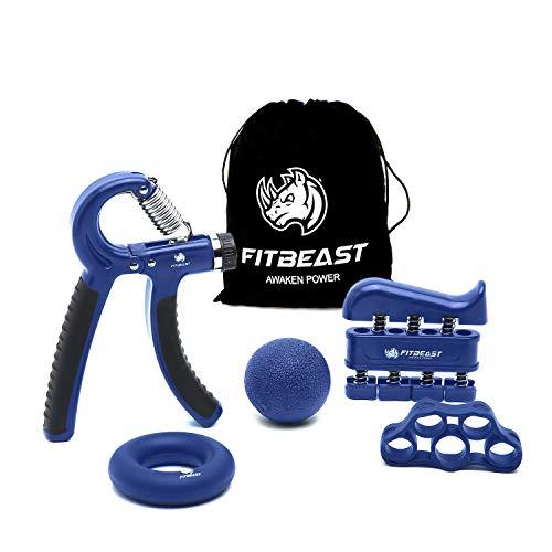 FitBeast Handtrainer zur Kraftsteigerung, Unterarmgriff Trainingsset - 5er-Pack, Verstellbarer Handtrainer, Finger Trainingsgerät, Fingerstretcher, Trainingsring & Stressabbau-Griffkugel für Sportler
