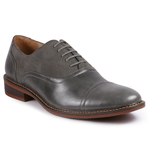 Metrocharm MC603 Men's Lace Up Cap Toe Classic Oxford Dress Shoe (9 D(M) US, Gray)