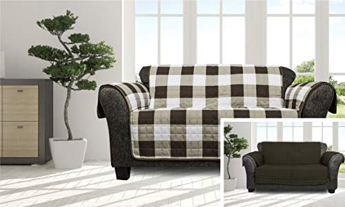 Quick Fit - The Original Plaid Gingham Checkered Reversible Water Resistant Furniture Cover for Dogs, Kids, Pets Sofa Slipcover for Couch, Recliner, Loveseat or Chair (Loveseat: Brown)