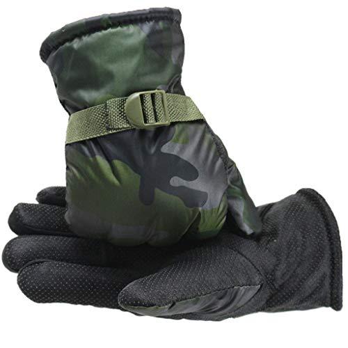Mens Thickening Gloves,Jushye Winter Warm Velvet Gloves Non-Slip Outdoor Mittens for Driving Cycling Snow Ski Running(Green,One size)