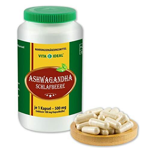 VITAIDEAL ® Ashwagandha-Wurzel (Withania Somnifera, Schlafbeere) 120 Kapseln je 500mg, aus rein natürlichen Kräutern, ohne Zusatzstoffe von NEZ-Diskounter