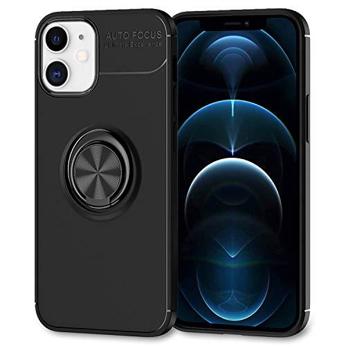 NALIA Ring Handyhülle kompatibel mit iPhone 12 / iPhone 12 Pro Hülle, Silikon Cover mit 360-Grad Finger-Halter für magnetische KFZ-Halterung, Schutzhülle Phone Case Handy-Tasche, Farbe:Schwarz