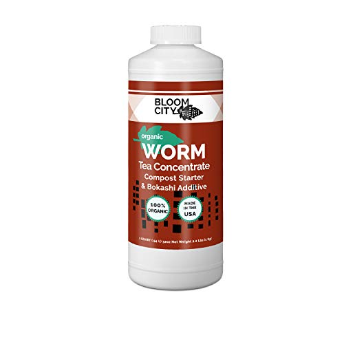 Organic Earthworm Tea Concentrate and Compost and Bokashi Booster by Bloom City, Quart (32 oz)