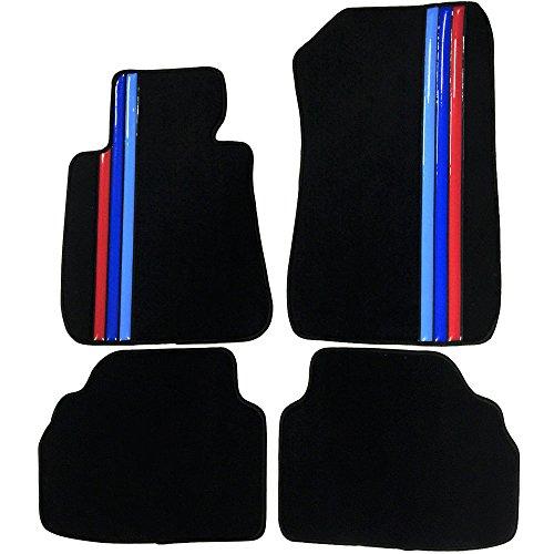 Floor Mat Compatible With 2005-2009 BMW E90 3 Series | Front & Rear Factory M Color Stripe Car Floor Carpets Carpet liner by IKON MOTORSPORTS | ?2006 2007 2008