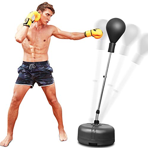 OppsDecor Reflex Speed Bag Punching Bag Free Standing Boxing Bag with Adjustable Height & Reinforced Spring Strong Durable Relief Stress Ball for Kids Teenagers Adults