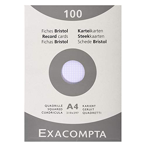 Exacompta 13206E Etui refermable de 100 fiches bristol 21x 29,7 cm quadrillée 5 x 5 non perforées Blanche