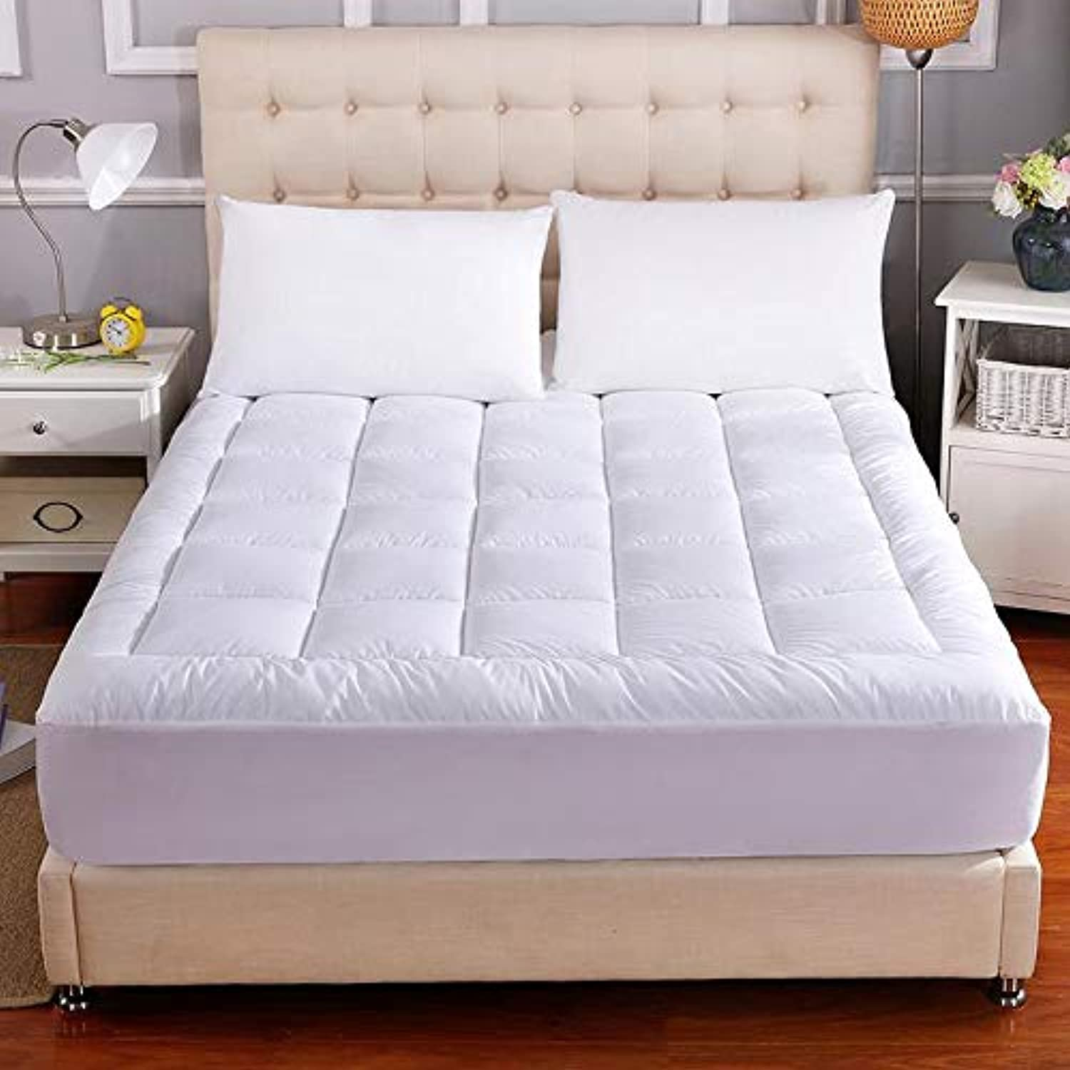Baile Waterproof Mattress Pad Cover- Fitted Quilted 8-21Inch Deep Pocket Cotton Top Down Alternative Filling Mattress Topper Queen CK72x84