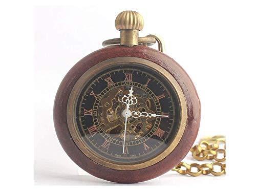 木製 ウッド懐中時計 アンティーク 手巻き レトロ 機械式 ki91