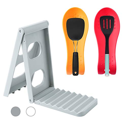Silicone Utensil Rest with Pot Rack Organizer for Kitchen Stove BPA-Free Flexible Almond-Shaped Silicone Spoon Holder for spoons, ladle, tongs and more cooking utensils (Grey)
