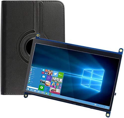 Für Raspberry Pi 4 Bildschirm, 7 Zoll LCD Screen 1024 x 600 HDMI Monitor IPS Display Touchscreen mit Ledertasche