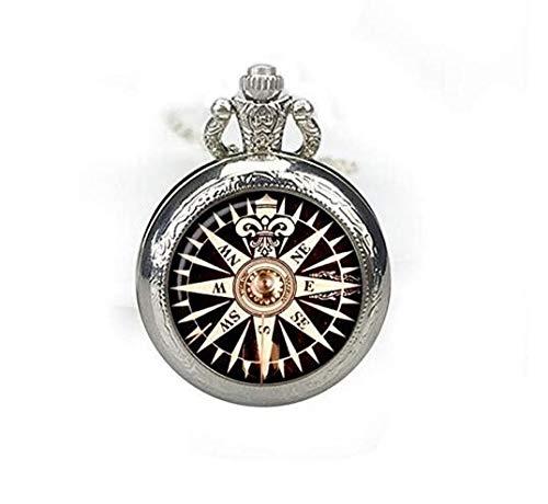 Old Compass Taschenuhr Halskette Rose Wind alt Kompass Uhr Anhänger Vintage Kompass Uhr Schmuck