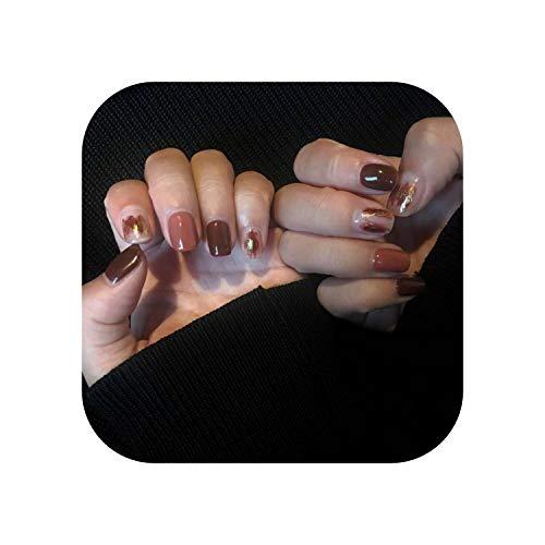24 pcs/boîte avec 2g colle Filles Brillant Or Poudre Décoration De Mode Faux Nail presse sur Café Couleur Rendu Couverture Complète ongles conseils-As shown-