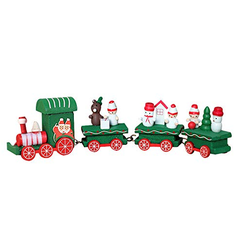 Upgraded Version Christmas Train Decor Gift Cute Wooden Mini Train Kids Gift Toys for Christmas Party Kindergarten Decoration (Green)