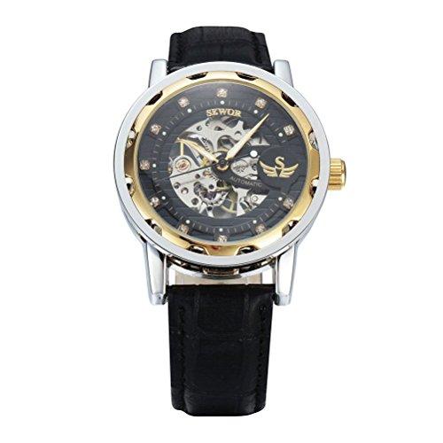 Pixnor - Reloj de pulsera mecánico para hombre, esfera redonda con correa de poliuretano, color dorado y negro Correa Oro Nero