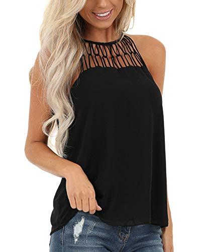 YOINS - Camiseta sexy para mujer, diseño de flores, cuello redondo Évidé-noir 46