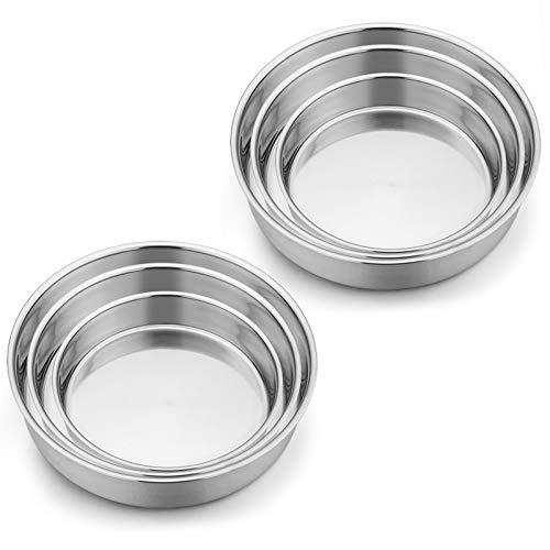 "Cake Pan (6"", 8"", 9½"") Set of 6, E-far Stainless Steel Round Layer Cake Baking Pans, Perfect for Birthday Wedding Tier Cake, Non-Toxic & Healthy, Mirror Finish & Dishwasher Safe"