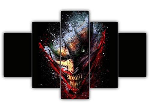 KOPASD Arts – 5 Piezas De Lienzo De Arte De Pared Joker: Arte Abstracto Cuadros De Lienzo Moderno Giclée para Decoración del Hogar (Tamaño Grande 200 X 100 Cm)
