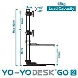 Yo-Yo DESK GO 2 (SCHWARZ) | Meistverkaufter Höhenverstellbarer Schreibtisch Mit Integrierter Säule Und Dual Monitorhalterung Für Benutzer über 180 cm | Integrierte Kabel- und Stiftbox - 8