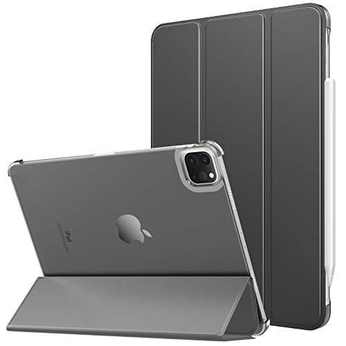 MoKo Cover compatibile con iPad Pro 11 2021 Tablet, Retro Trasparente Rigido Ultra Sottile Leggero Custodia in Tri-fold con Auto Sveglia / Sonno, Grigio Siderale