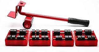رافعة لتحريك الاثاث قابلة للنقل، مجموعة ادوات مكونة من 5 قطع لنقل الاثاث رافعة وزلاجة بلوح وعمود وعتلة - لون احمر